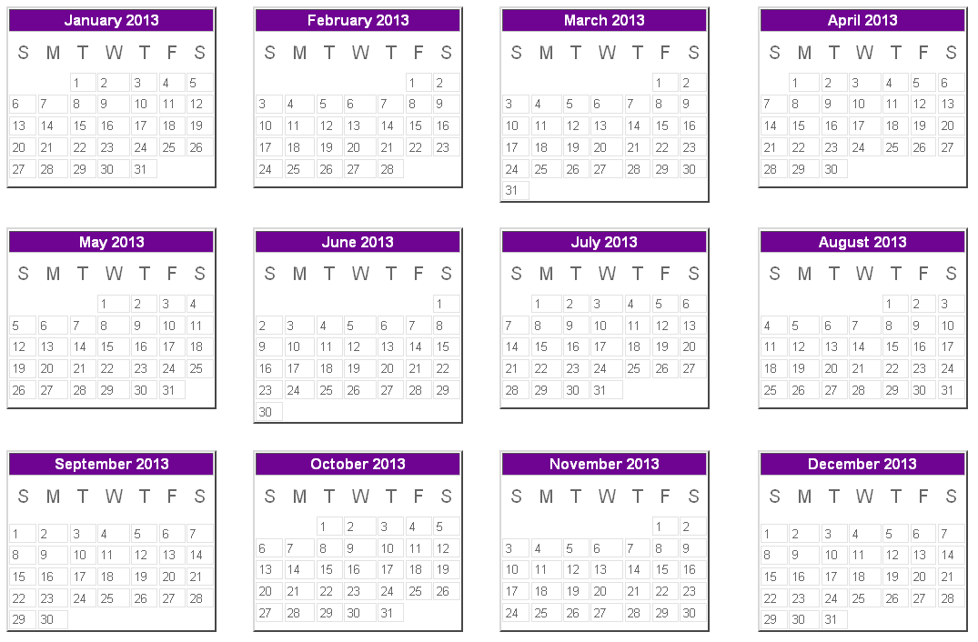 Calendar of 2013 in landscape format .