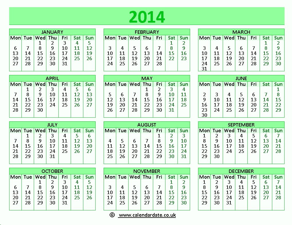 2014 Calendar with Holidays Printable